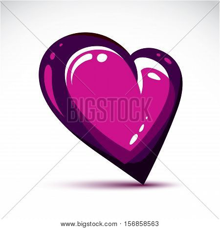 Vector Illustration Of 3D Elegant Purple Love Heart Isolated. Valentine Day Theme Artistic Graphic D