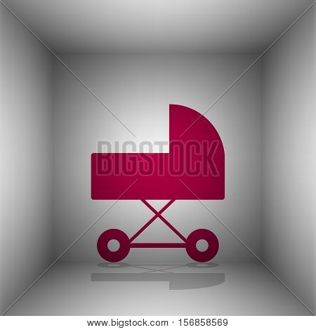 Pram Sign Illustration. Bordo Icon With Shadow In The Room.