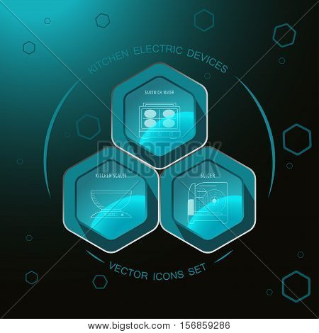 Kitchen electric devices - vector icons set on the hexagon dark turquoise background with sandwich maker kitchen scales slicer.