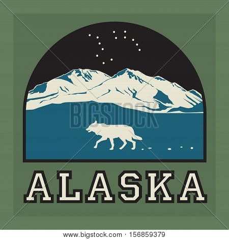 Mountains badge or emblem. Adventure outdoor expedition mountain badge climbing mountain snowy peak mountain label with text Alaska vector illustration