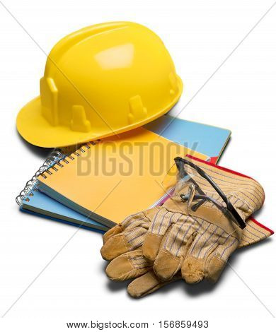 Yellow Safety Helmet with Gloves, Eyeglasses and Handbook