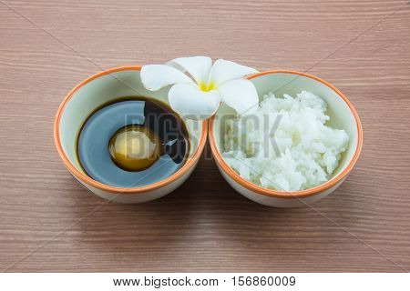 Raw Egg in soy sauce and white rice,Tamago kake gohan