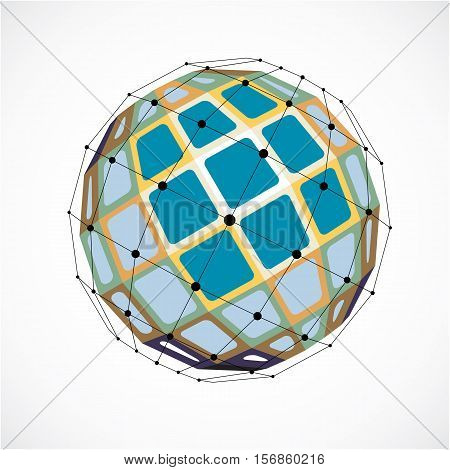 3D Vector Low Poly Spherical Object With Black Connected Lines And Dots, Geometric Red Wireframe Sha
