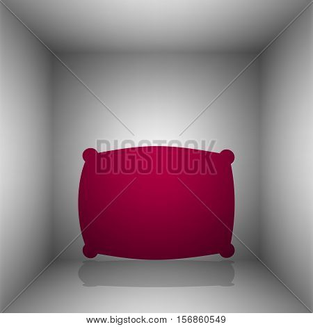 Pillow Sign Illustration. Bordo Icon With Shadow In The Room.
