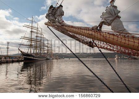 Varna Bulgaria - October 3 2016: Port of Varna host of the International SCF Black Sea Tall Ships Regata 2016. Russian tall ships Nadezhda and Kruzenshtern