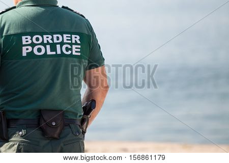 Closeup of a border police officer on duty