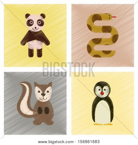 assembly flat shading style icons of Panda bear snake squirrel penguins