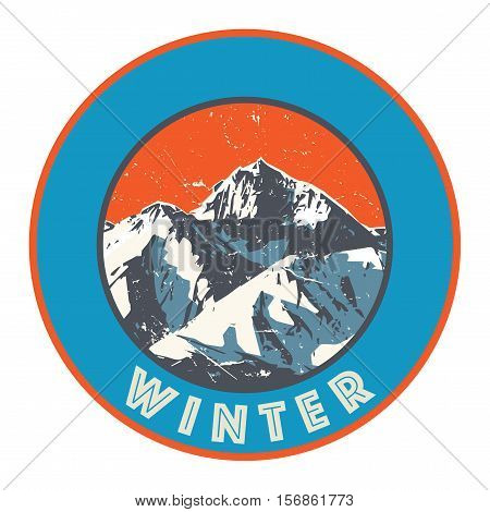 Mountains badge or emblem. Adventure outdoor expedition mountain badge climbing mountain snowy peak mountain label with text Winter vector illustration