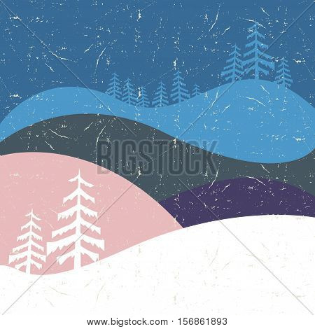 Winter mountains forest valley night scenic landscape. New Year Christmas greeting card template vector illustration.