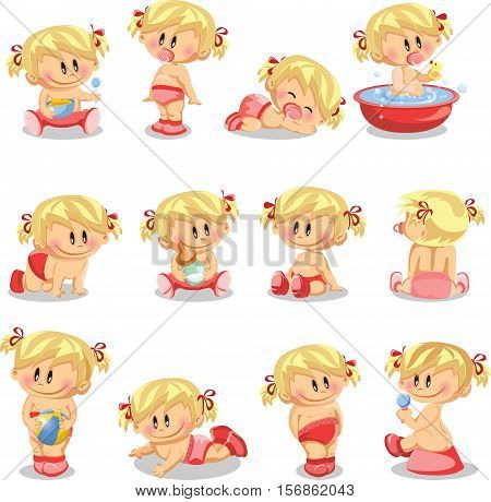 ector illustration of baby girls,for your design