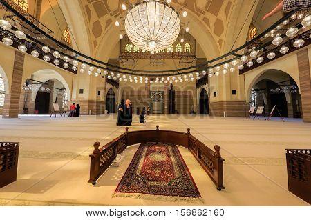 MANAMA, BAHRAIN - NOV 16, 2016: Interior view of the Al Fateh Grand Mosque featuring the Main Prayer Hall