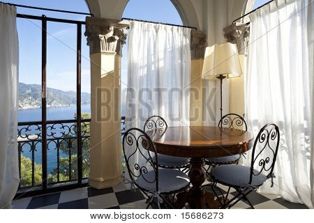 tower, luxury residential apartments, room with ancient columns