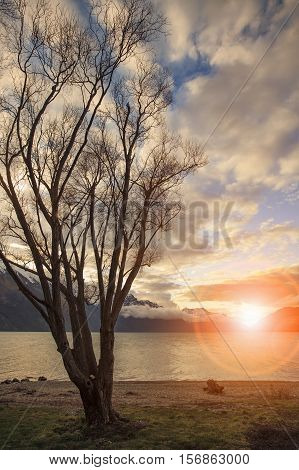 beautiful scenic sun set sky at lake wakatipu queenstown new zealand