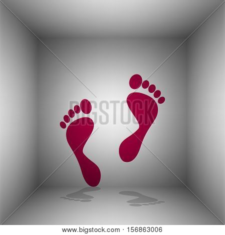Foot Prints Sign. Bordo Icon With Shadow In The Room.