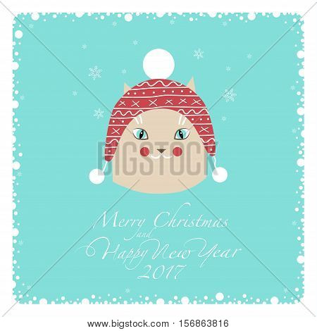 Greeting card. Beige cat in a knitted red and white hat with white pompons. From the bottom of the postcard the phrase merry christmas and happy new year and numbers: two, zero, one ,seven.