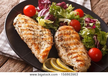 Healthy Food: Grilled Chicken And Mix Salad Of Chicory, Tomatoes, Kale And Lettuce Close-up. Horizon