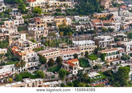 View of Positano. Positano is a small picturesque town on the famous Amalfi Coast in Campania Italy