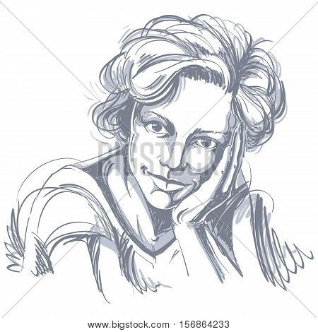 Portrait of delicate dreamy good-looking woman black and white vector drawing. Emotional expressions idea image.