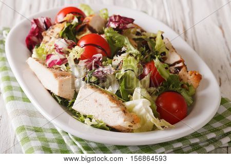 Fresh Chicken Salad, Tomato, Chicory, Lettuce And Arugula With Balsamic Sauce Close-up. Horizontal