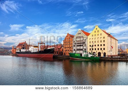 Granary Island at the Motlawa river in Gdansk Poland.