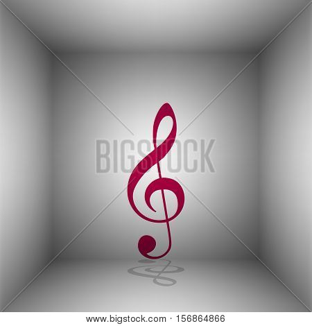 Music Violin Clef Sign. G-clef. Treble Clef. Bordo Icon With Shadow In The Room.