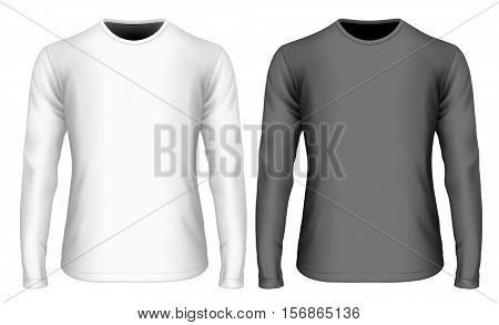 Men's long sleeve black and white t-shirt (front view). Vector illustration. Fully editable handmade mesh.
