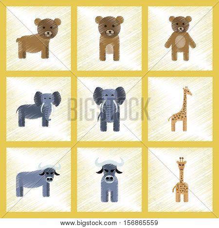 assembly flat shading style icons of giraffe bull bear elephant