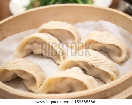 Closeup of Streamed shrimp Dumplings Taiwan food (Selective Focus)