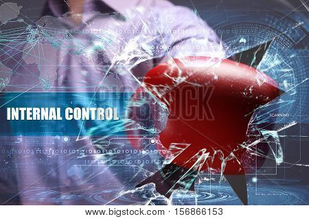 Business, Technology, Internet And Network Concept. Young Businessman Breaks The Virtual Future Of T