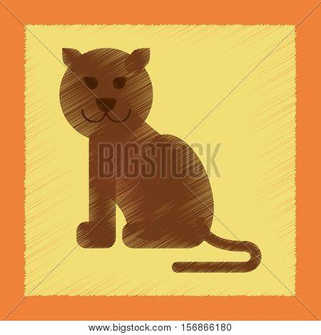 flat shading style icon of cartoon panther