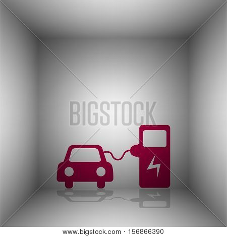 Electric Car Battery Charging Sign. Bordo Icon With Shadow In The Room.