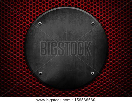 round metal on mesh background