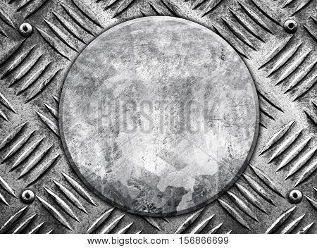 round metal on diamond plate background