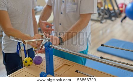 Hand therapy with physiotherapist Equipments, close up
