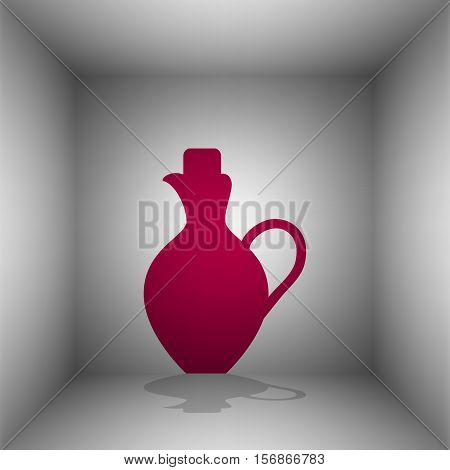 Amphora Sign Illustration. Bordo Icon With Shadow In The Room.