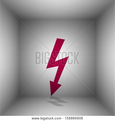High Voltage Danger Sign. Bordo Icon With Shadow In The Room.