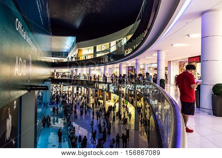 DUBAI UAE - NOVEMBER 9 2016: Aquarium in Dubai Mall - world's largest shopping mall UAE.