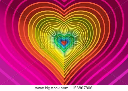 abstract background with lines heart color 3d illustration