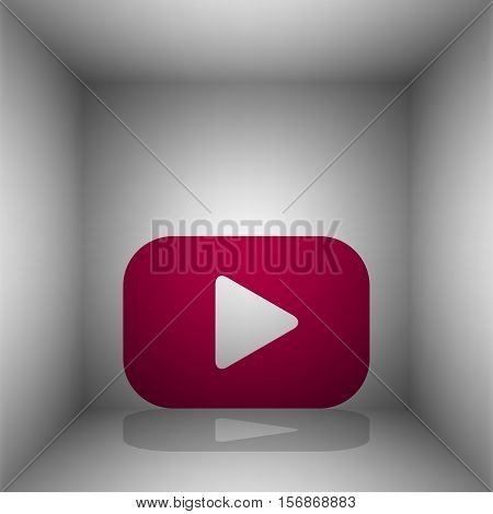 Play Button Sign. Bordo Icon With Shadow In The Room.