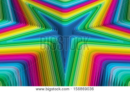 colorful background abstract star ripple 3d illustration