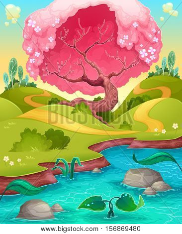 Landscape in the countryside. Vector cartoon illustration