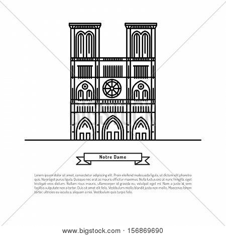 The building of the Notre Dame, made in the style of outline with place for text. Outline Paris landmark