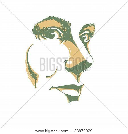 Vector drawing of pensive woman thinking about something. Artistic portrait of attractive still lady visage features.