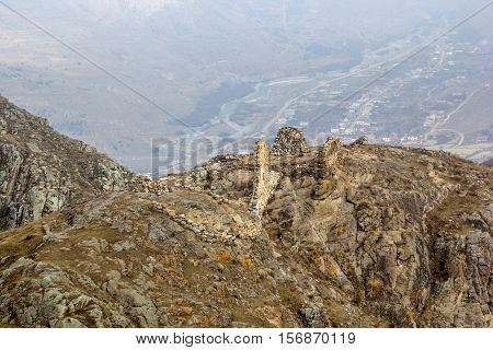 ruins of the ancient temple in the mountain gorge of the North Caucasus