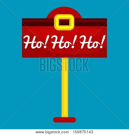 Christmas letter box to Santa isolated, Santa Claus xmas mail delivery postbox vector llustration, hohoho.