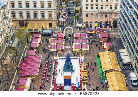 Christmas market in St. Stephen's Basilica Square, Budapest, Hungary