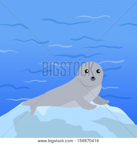 Earless seal on floe in the ocean. Flat style vector. Wild animal. Northern fauna species. Cute baby of sea calf in habitat. For nature concepts, children s books illustrating, printing materials