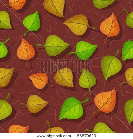 Leaves vector seamless pattern. Flat style illustration. Falling color tree leaves on brown background. Autumn defoliation. For wrapping paper, greeting card, invitation, printing materials design