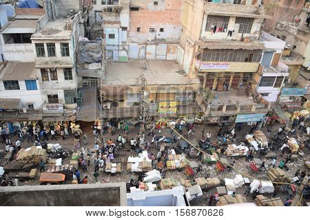 NEW DELHI, INDIA, FEBRUARY 02, 2016 - Top view of the busy area of Chandni Chowk, the old part of the city