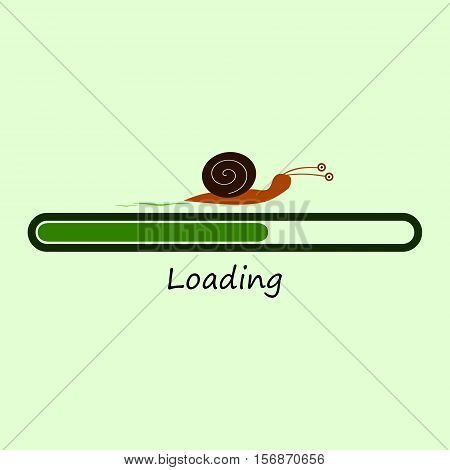 Slow progress loading bar with snail. Isolated illustration.